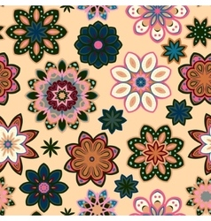 Seamless flower retro pattern in  green vector