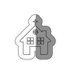 Sticker of monochrome contour of church in white vector