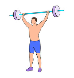 man with barbell icon cartoon vector image