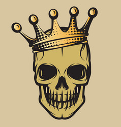 Color with skull in crown vector