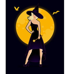 Beautiful witch in black dress vector image