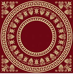 Round greek ornament meander and floral pattern vector