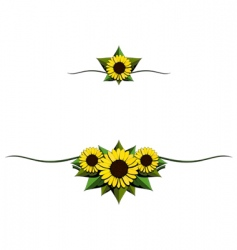Sunflower cartoon ornaments vector
