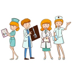 Doctors and nurses with patient files vector