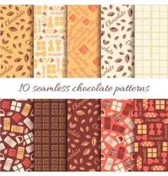 Set of ten abstract chocolate seamless patterns vector