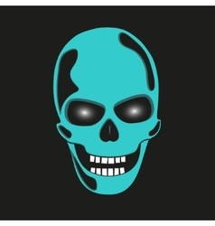 Turquoise skull with glowing eye sockets vector