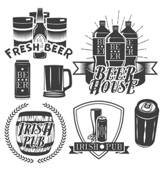 Set of brewing labels in vintage style pub vector