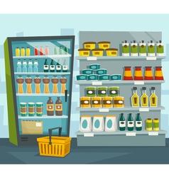 Supermarket interior shop shelves and refrigerator vector image