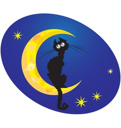 Cat on moon vector