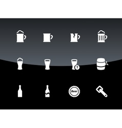 Bottle and glass of beer icons on black background vector