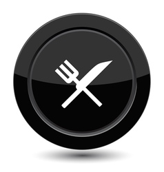 Button with fork and knife vector image vector image