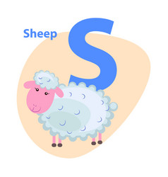 Character s cheerful sheep on abc for children vector