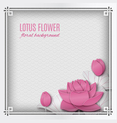 chinese square frame with lotus paper flower vector image vector image