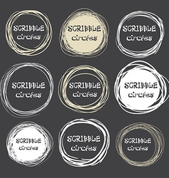 Collection of hand-drawn scribble circles against vector image