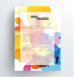 creative abstract colorful cv resume template vector image vector image