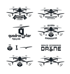 Drone or quadrocopter set badges vector