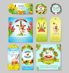 Easter gift tag greeting banner and poster set vector
