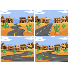 Four scenes with roads in the western town vector