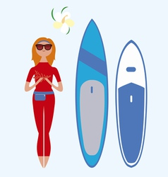 Girl and surf boards vector