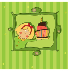 girl with chocolate cake vector image vector image