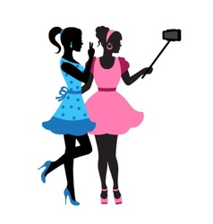 girls doing selfie vector image