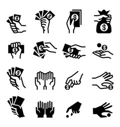 hand money icon vector image vector image