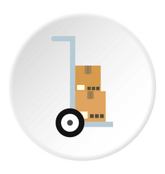 Hand truck with cardboard boxes icon circle vector