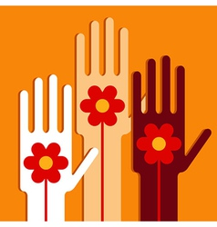 Hands with flowers vector image