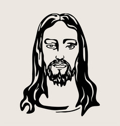 Jesus christ face art design vector