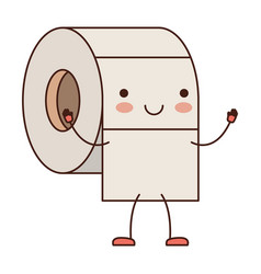 kawaii cartoon toilet paper roll in colorful vector image vector image
