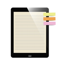 Liner paper on tablet screen with notepad vector