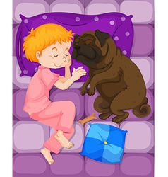 Little boy sleeping with pet dog in bed vector