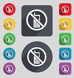 mobile phone is prohibited icon sign A set of 12 vector image