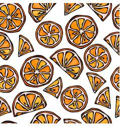 Orange seamless slices background pattern of vector