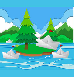 Paper boats floating on the lake vector