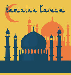 Ramadan kareem the mosque is painted in the style vector