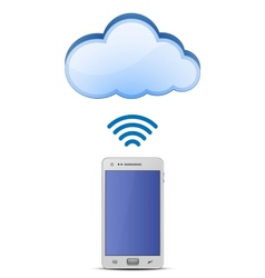 Smart phone and cloud network vector image vector image