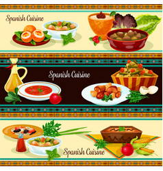 Spanish cuisine banner set with traditional food vector
