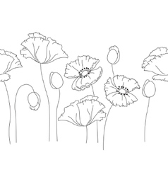 Stylized cute poppy isolated on white background vector image vector image