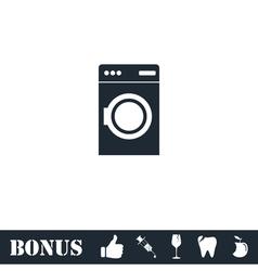 Washing machine icon flat vector image