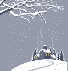 Winter night landscape with snow-covered village vector