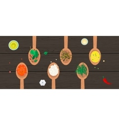 Wooden spoons with spices and herbs on wood vector image