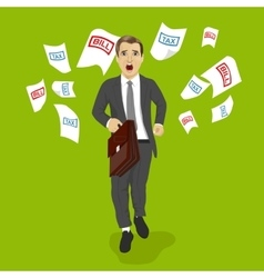 Businessman running away from tax and bill papers vector