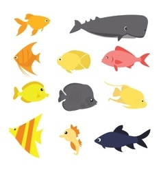 Fish icon set exotic sea creature color vector