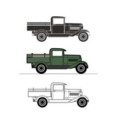 Retro pickup truck car vintage collection vector image