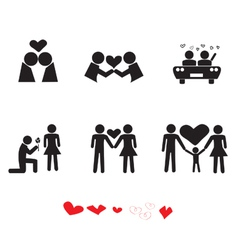 Love people icon set vector