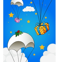 Three parachutes with gifts vector image