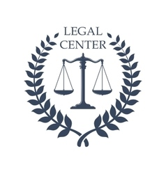 Legal center emblem with scales of justice icon vector