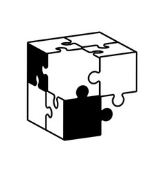Globe puzzle solution monochrome vector