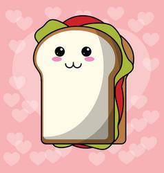kawaii sandwich heart background vector image